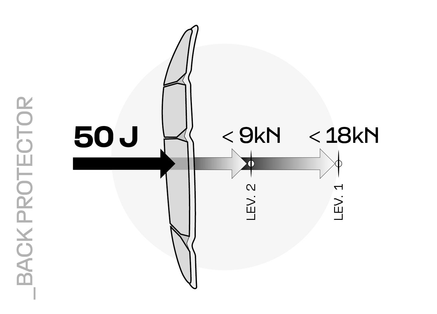 Rappresentazione dell'assorbimento della forza di un paraschiena di Livello 1 e Livello 2